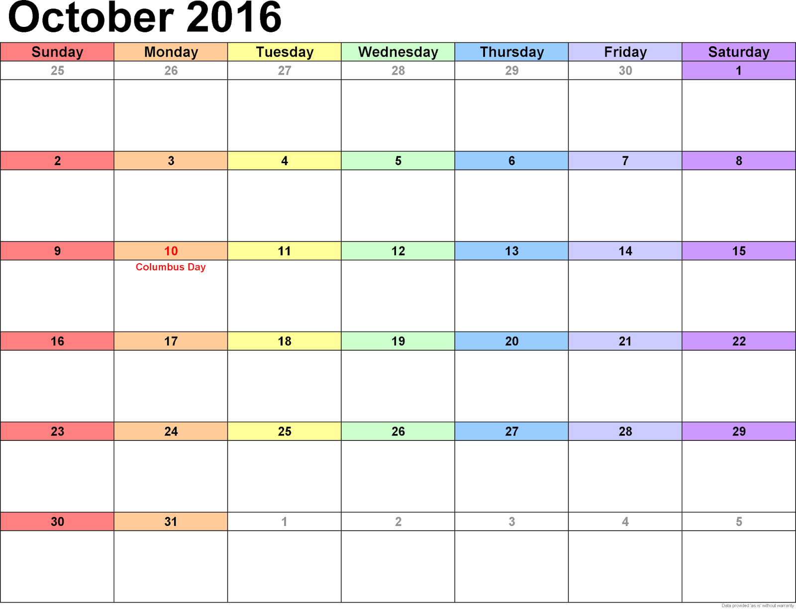 Calendar Q : October blank printable calendar