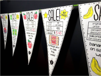 students find percent discounts on these math pennants