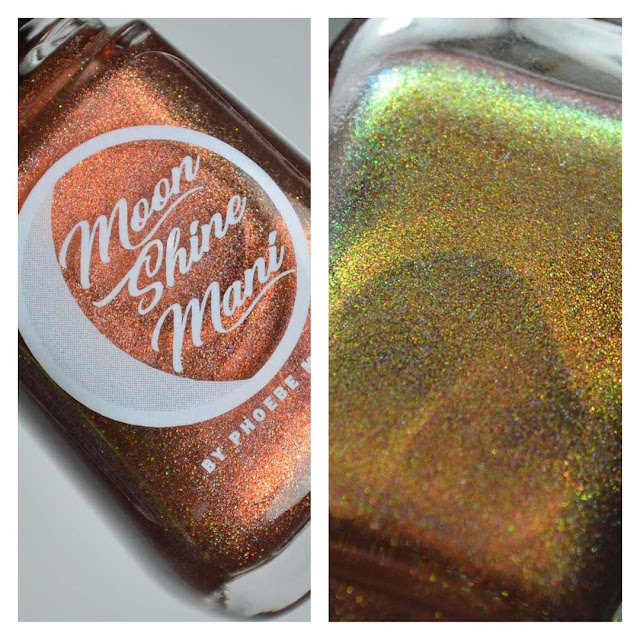 cinnamon holographic nail polish in a bottle