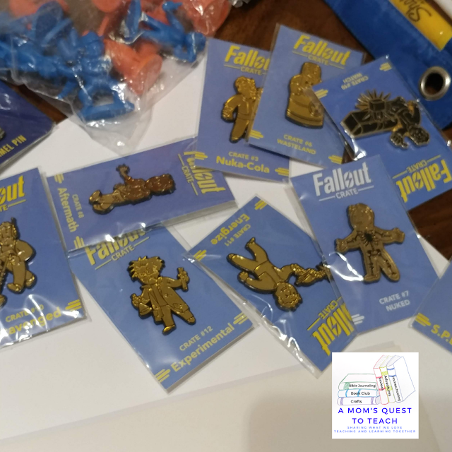 A Mom's Quest to Teach logo, Fallout Collectables - pins