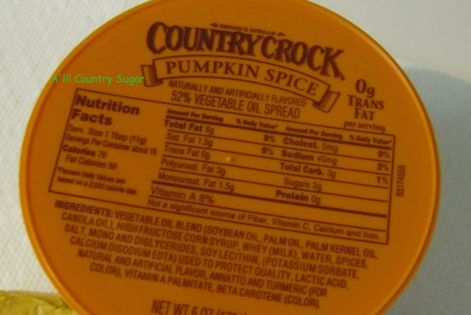 Country Crock Butter Nutrition Label