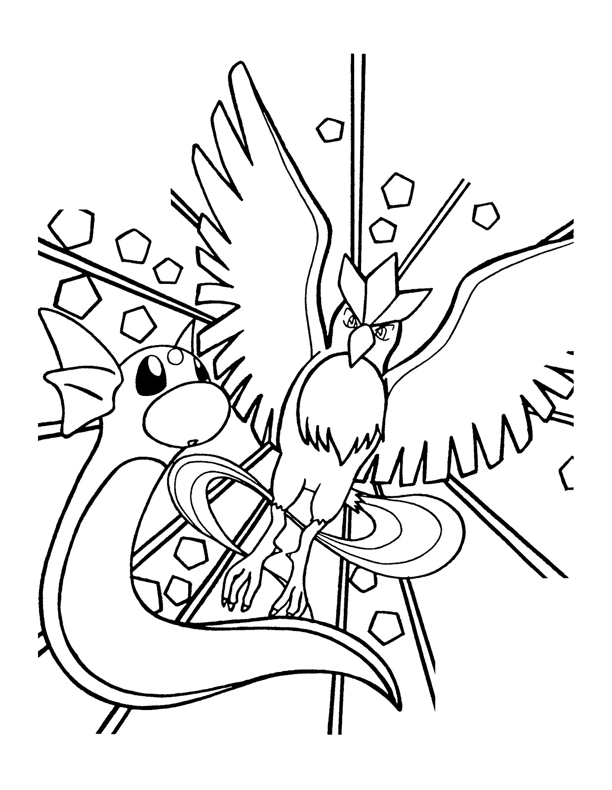 Pokemon Articuno Coloring Pages Printable Free Pokemon