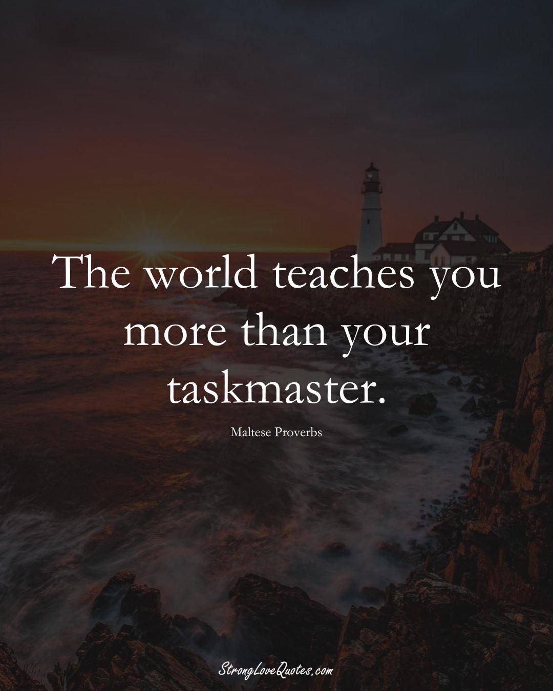 The world teaches you more than your taskmaster. (Maltese Sayings);  #EuropeanSayings