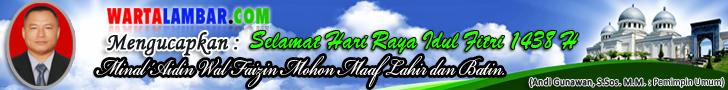 Segenap Karyawan/ti Wartalambar.com Mengucapkan Selamat Hari Raya Idul Fitri 1438 Hijriyah. Minal Aidzin Walfaidzin Mohon Maaf Lahir dan Batin