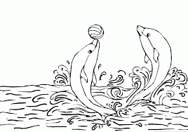 Cute Dolphins in Circus Coloring Pages For Kids