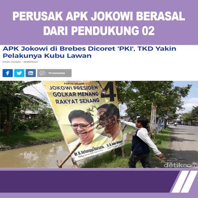 APK Jokowi di Brebes Dicoret 'PKI', TKD Yakin Pelakunya Kubu Lawan