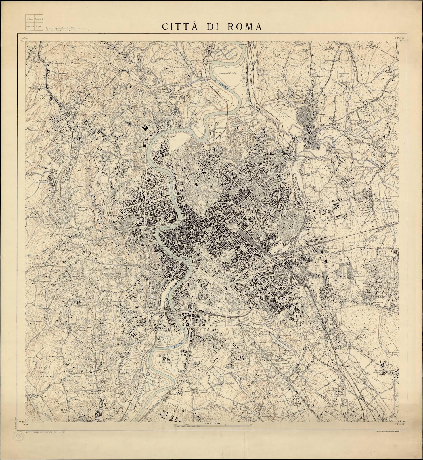 Cartina D Roma.Rerum Romanarum Mappa Di Roma Dell Istituto Geografico Militare 1950