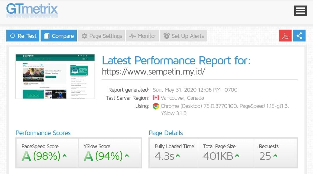 Hasil Test Speed Load Linkmagz Redesign Melalui Situs GTMetrix