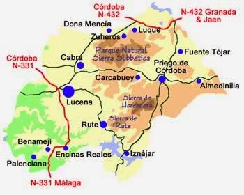 Mapa general de la Subbética cordobesa