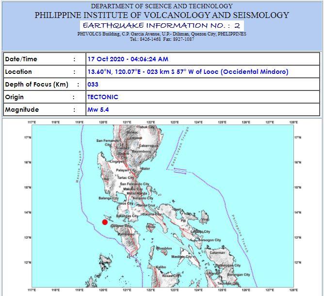 Magnitude 5.4 earthquake October 17, 2020