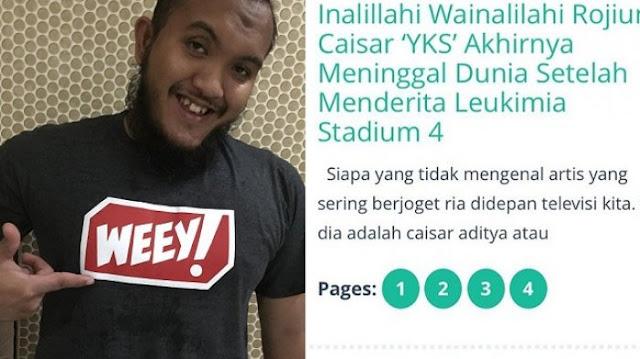 Media Abal-Abal Kabarkan Caisar YKS Meninggal Dunia Akibat Leukemia, Netizen Pun Berang