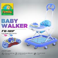 Baby Walker Family FB181F Beruang Musik Mainan Bisa Dilepas 2 in 1 Alat Belajar Jalan & Dorongan Bayi