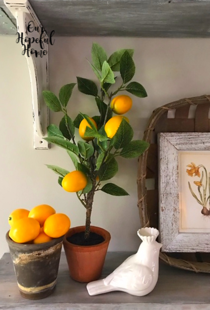 porcelain bird crown lemons topiary clay pot