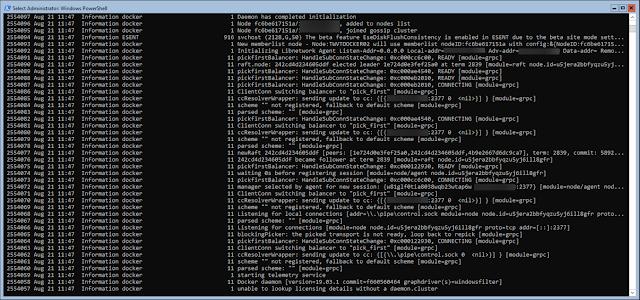 get eventlog for docker debug information