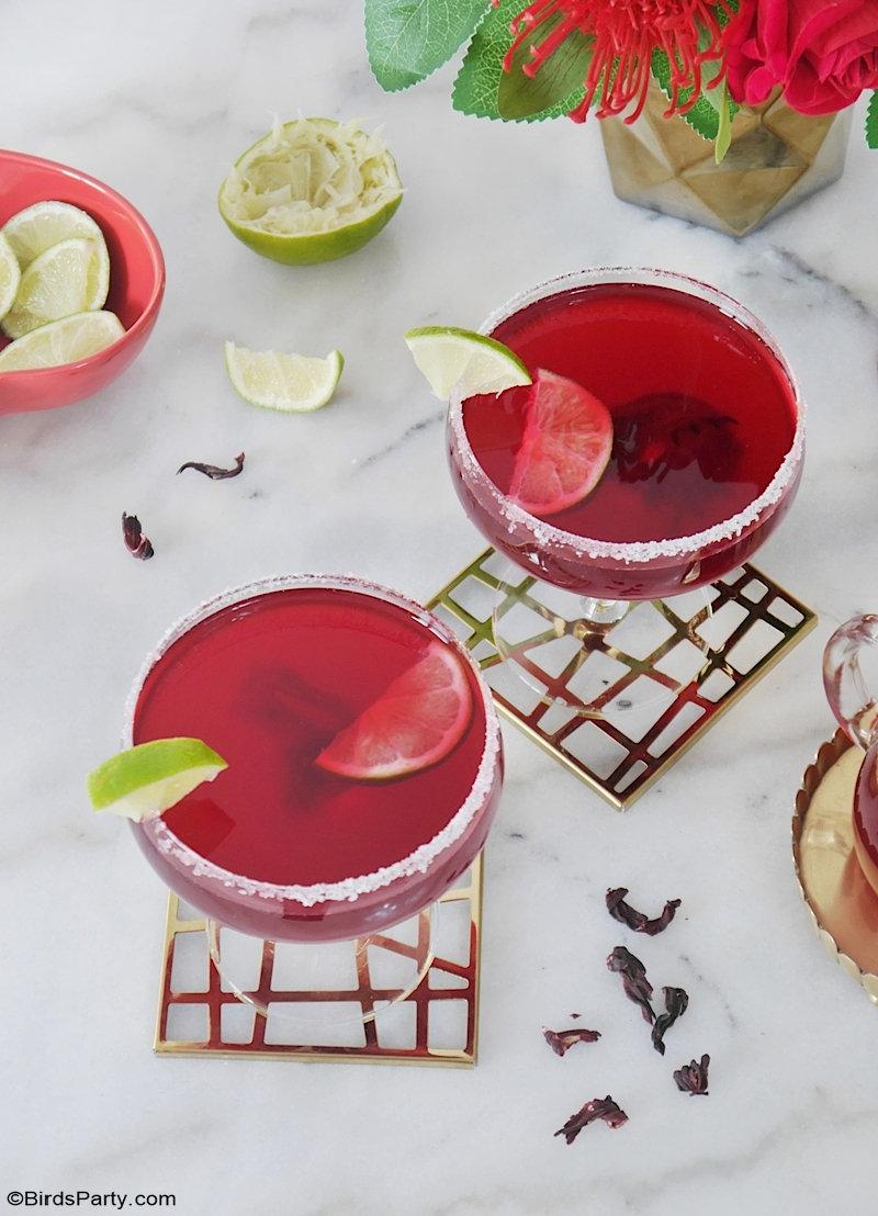 Recette de Cocktail Margarita Hibiscus - délicieuse, rapide et assez facile à préparer pour un apéro de la Saint-Valentin ou  pour une soirée entre filles! by BirdsParty;com @birdsparty #saintvalentin #apero #boisson #cocktail #margarita #hibiscus #aperosaintvalentin #recettecocktail