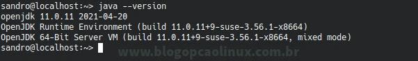 Verificando a versão do Java instalada pelo terminal
