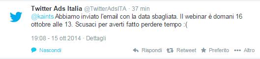 Risposta di Twitter Ads Italia