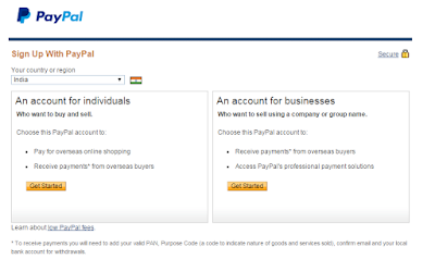 individual account, business account at Paypal
