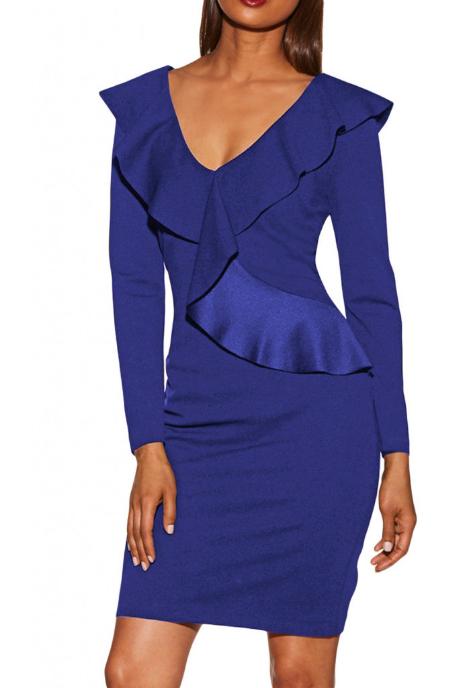 Rochie eleganta cu maneci lungi si volane albastra eleganta ieftina