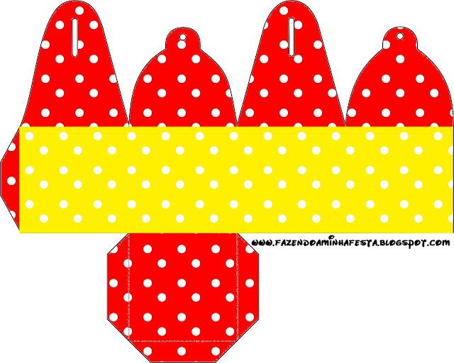Caja para cupcakes, chocoltes o golosinas de Rojo, Amarillo y Lunares Blancos.
