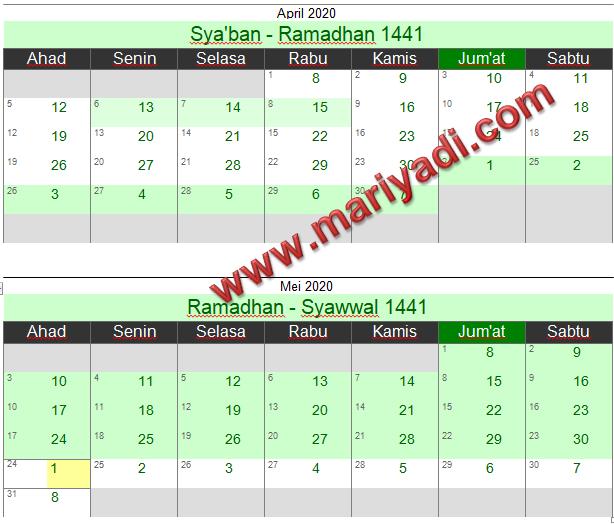 Inilah Jadwal Puasa Ramadhan 2020 Berdasarkan Kalender Islam 2020 lengkap