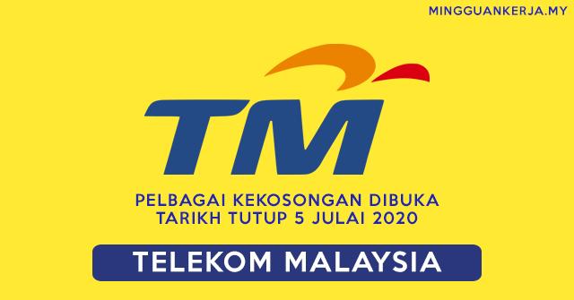 Telekom Malaysia Buka Pelbagai Pengambilan ~ Minima SPM Layak Memohon ~ Tarikh Tutup 5 Julai 2020