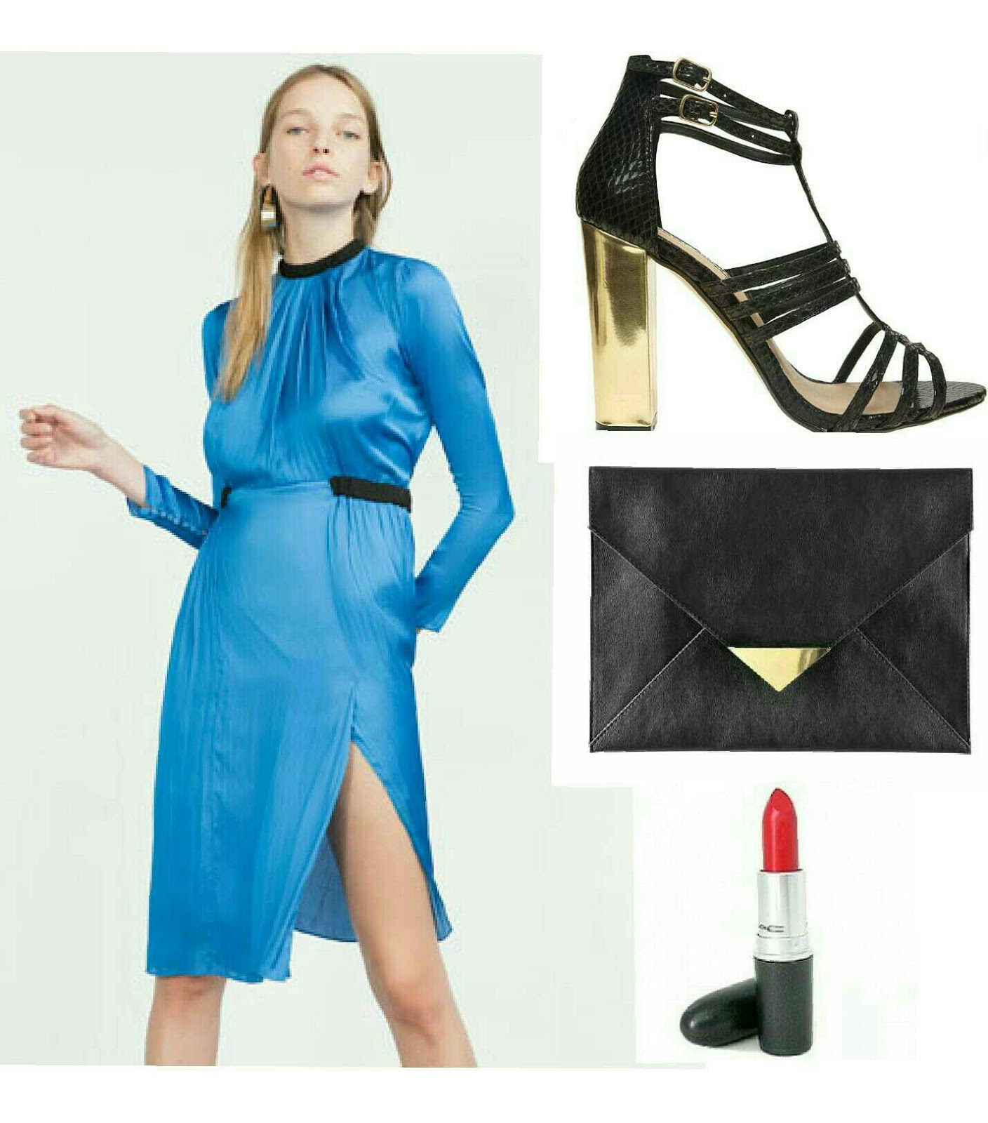 Vestido azul electrico zara