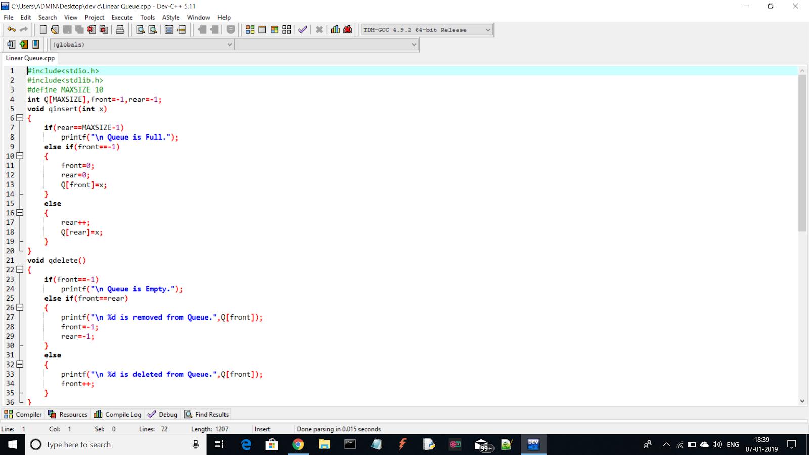 Linear Queue Program in C-Language