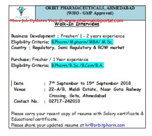 ORBIT PHARMACEUTICALS Walk In for Freshers & Experienced Candidates on 8 to 15 Sept