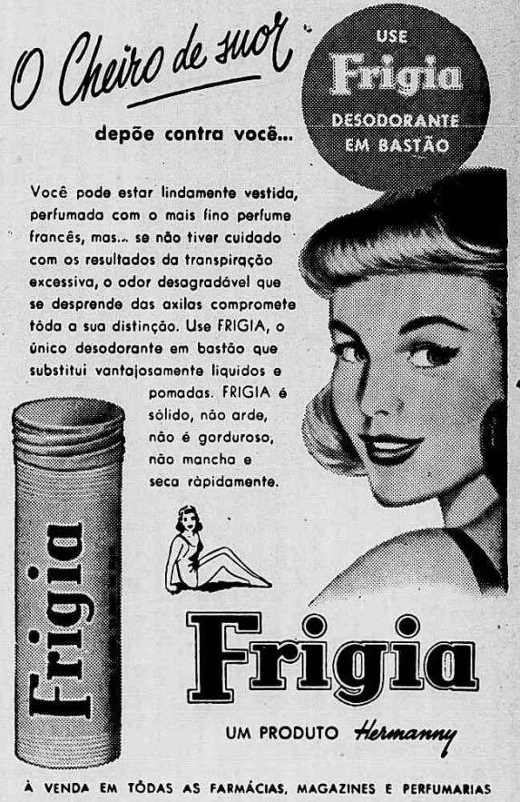 Propaganda antiga do desodorante de bastão da marca Frigia, em 1957