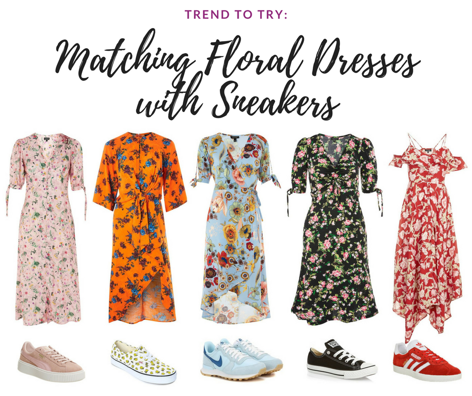 summer trend floral midi dress with matching trainers