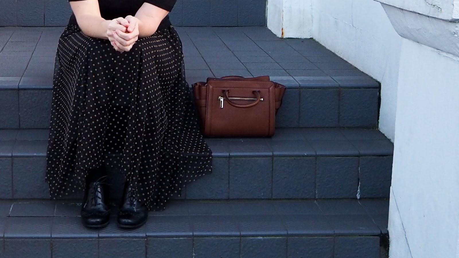 Black Mesh Tulle Skirt with tan flocked swiss dot pattern
