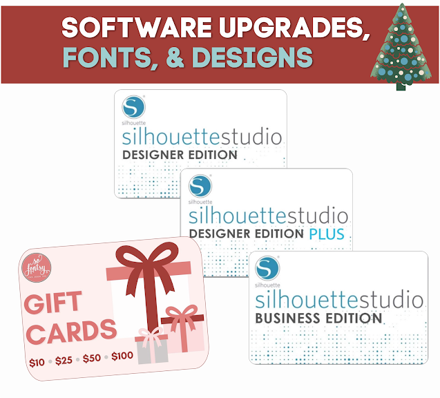 silhouette gift guide, silhouette holiday guide, silhouette studio designer edition, so fontsy, silhouette studio business edition