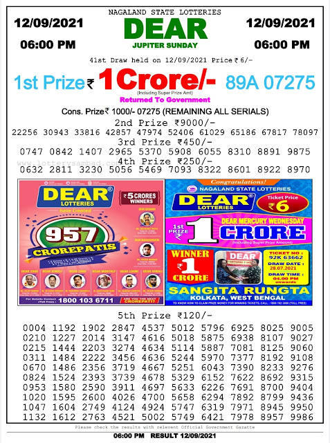 13-09-2021 Lottery Sambad [Today Result] Live : 2 PM, 6 PM, 8 PM [ Check Result Now]