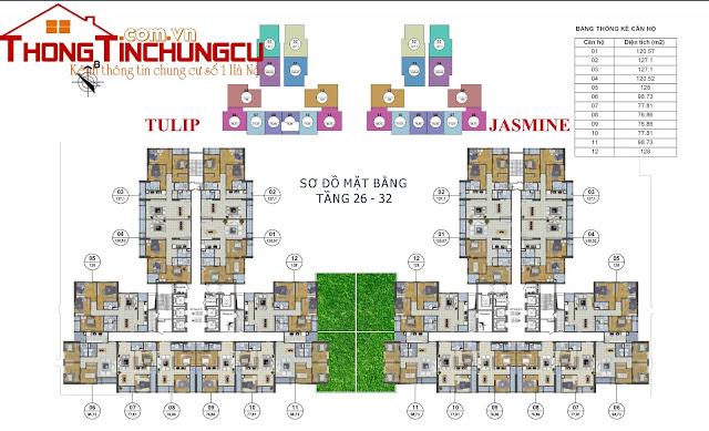 Mặt bằng điển hình tầng 26 - 32  chung cư GoldSilk Complex