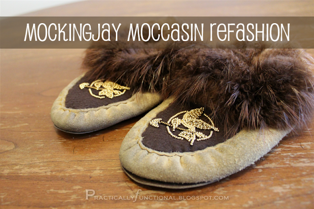 Mockingjay moccasin refashion with seed beads and felt
