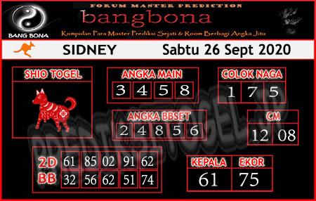 Prediksi Bangbona Sydney Sabtu 26 September 2020</strong