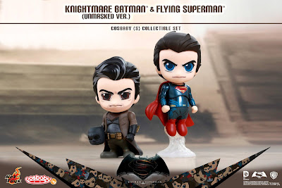 Batman v Superman: Dawn of Justice Unmasked Knightmare Batman & Flying Superman Cosbaby Box Set by Hot Toys