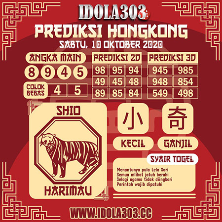 Prediksi Togel Idola303 Hongkong Sabtu 10 Oktober 2020