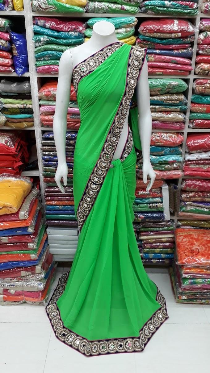 green saree black border designer saree with hevy blouse pis plain border