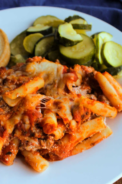 ziti and zucchini on plate
