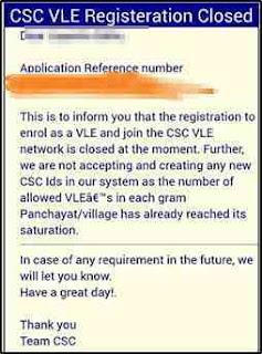 CSC Vle Registration Closed