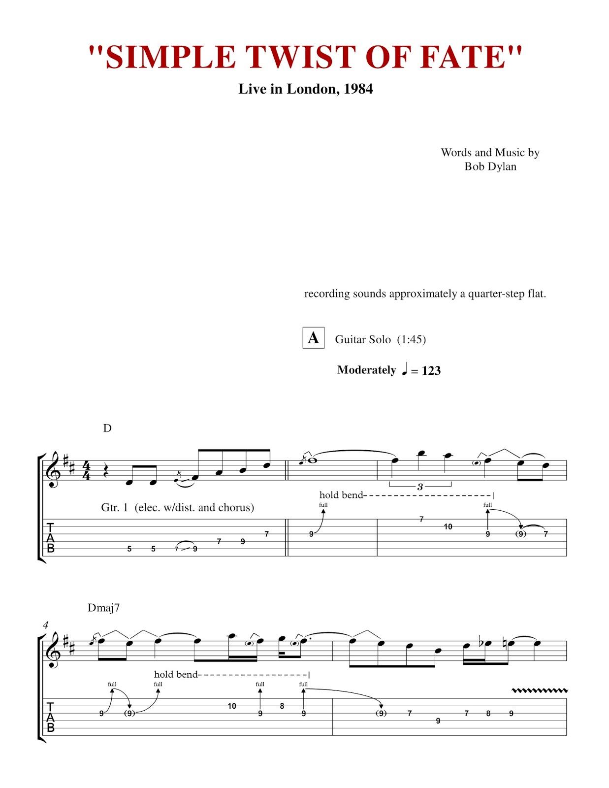 Custom Guitar Transcriptions: \