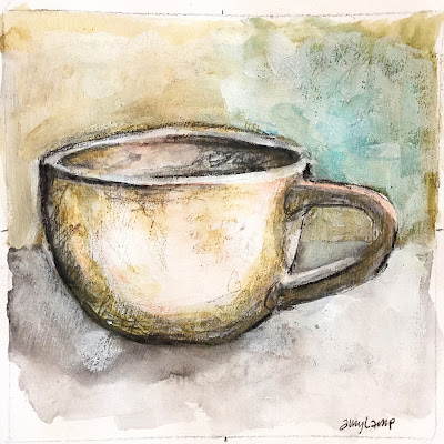 daily art - mixed media mug study in Canson XL Mix Media sketchbook with gesso base layer