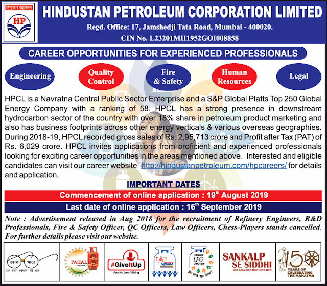 HPCL Recruitment 2019 for Engineering, QC, HR, Law Officer posts
