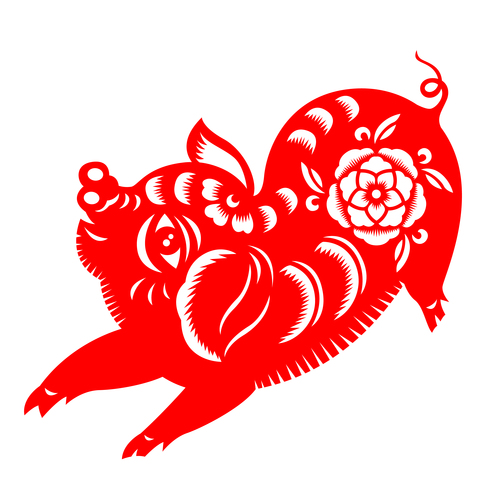 2019 Happy Chinese New Year with Pig paper cutting art vector free vector art, vectorstock, vector illustration, vector file, vector icons, vector picture