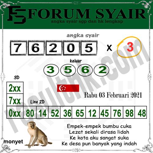 Forum Syair SGP Rabu 03 Februari 2021
