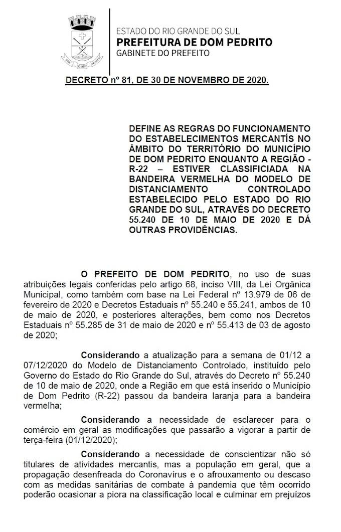 BANDEIRA VERMELHA | Novo decreto detalha limitação no funcionamento do comércio, bares, restaurantes e outros estabelecimentos