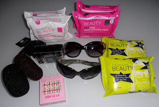 Facial Wipes, Hair Accesories, Nail Crackle Set, Sunglasses from Primark