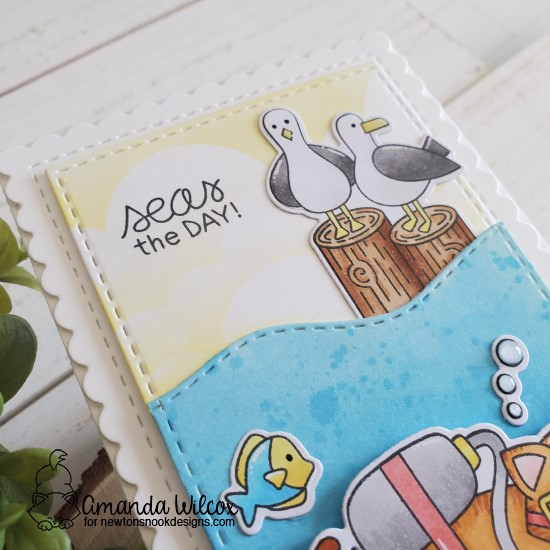 Seas the Day! Card by Amanda Wilcox | Scuba Newton Stamp Se, Purr-maid Newton Stamp Se, Gull Friends Stamp Set, Clouds Stencil and Sea Borders Die Set by Newton's Nook Designs #newtonsnook #handmade